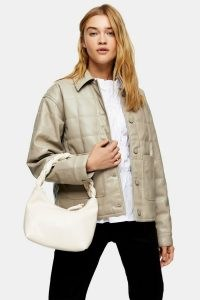 TOPSHOP Taupe Boxy Quilted PU Jacket – neutral faux leather jackets