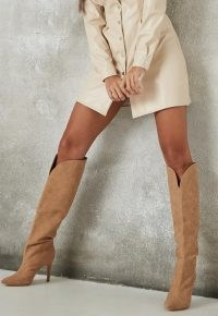 MISSGUIDED taupe faux suede curve top knee high boots ~ light brown front curved boots