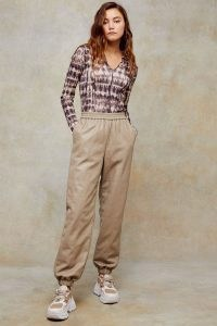TOPSHOP Taupe PU Quilted Joggers