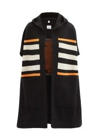 BURBERRY TB-monogram hooded wool-blend cape ~ designer capes with hoods ~ winter outerwear