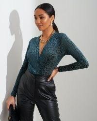 FOREVER UNIQUE Teal Leopard Print Bodysuit / deep V neck bodysuits