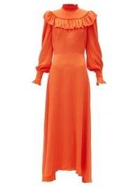 THE VAMPIRE'S WIFE The Firefly ruffled silk-blend dress ~ bright orange vintage style dresses