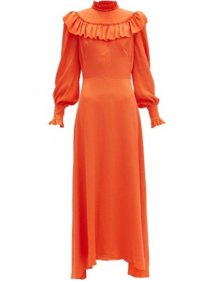 THE VAMPIRE'S WIFE The Firefly ruffled silk-blend dress ~ bright orange vintage style dresses - flipped
