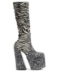 HARRIS REED X ROKER The H zebra-stripe calf-hair platform boots – 70s vintage style glamour – super high platforms – retro footwear