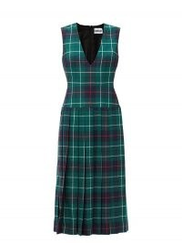DUNCAN The Vogelson V-neck pleated tartan wool dress in green ~ sleeveless plaid dresses