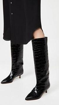 Tibi Collier Boots ~ black croc effect footwear ~ kitten heel knee high boots
