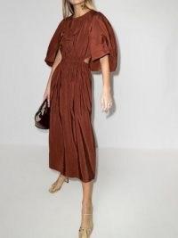 Tibi Gemma shirred waist cape dress in rusty-brown
