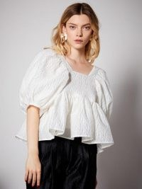 sister jane Sash Jacquard Oversized Top ~ puff sleeve tops with volume