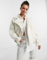 Topshop faux shearling biker jacket in off white ~ textured winter jackets ~ luxe style outerwear