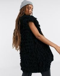 Topshop knitted shaggy gilet in black ~ gilets ~ sleeveless jackets ~ on trend knitwear