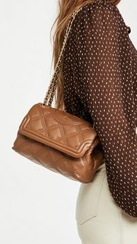 Tory Burch Fleming Soft Small Convertible Shoulder Bag ~ brown quilted flap bags ~ chain strap