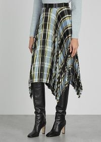 TORY BURCH Sunburst checked pleated silk midi skirt ~ asymmetric check print skirts ~ bold checks