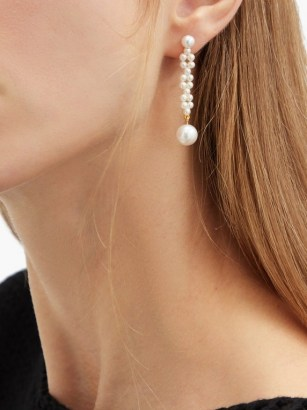 SOPHIE BILLE BRAHE Tresse pearl & 14kt gold drop earrings ~ feminine statement drops - flipped