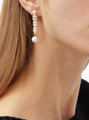 SOPHIE BILLE BRAHE Tresse pearl & 14kt gold drop earrings ~ feminine statement drops