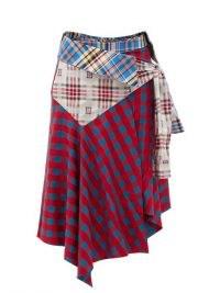MARQUES'ALMEIDA Upcycled asymmetric cotton midi skirt | multi check prints | mixed tartan skirts