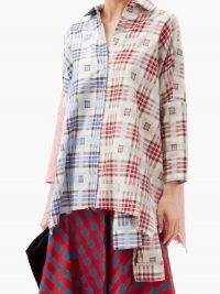 MARQUES'ALMEIDA Upcycled checked cotton shirt / red and blue checks / contemporary check print shirts