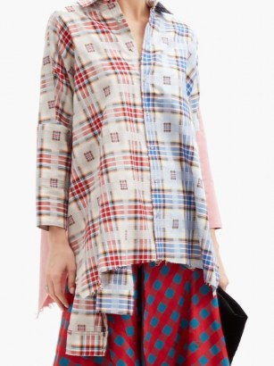 MARQUES'ALMEIDA Upcycled checked cotton shirt / red and blue checks / contemporary check print shirts - flipped