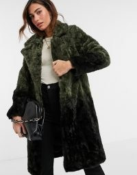 Urbancode coat in ombre faux fur khaki / black