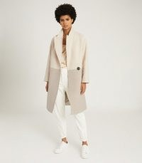 REISS VALE COLOUR BLOCK WOOL BLEND OVERCOAT NEUTRAL / colourblock winter coats