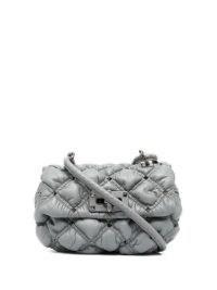 Valentino Garavani SPIKEME grey quilted clutch bag