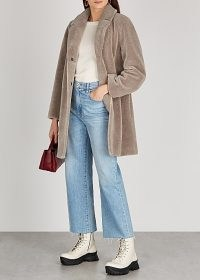 VELVET BY GRAHAM & SPENCER Trishelle taupe faux shearling coat | neutral winter coats
