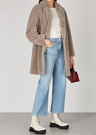 VELVET BY GRAHAM & SPENCER Trishelle taupe faux shearling coat | neutral winter coats - flipped