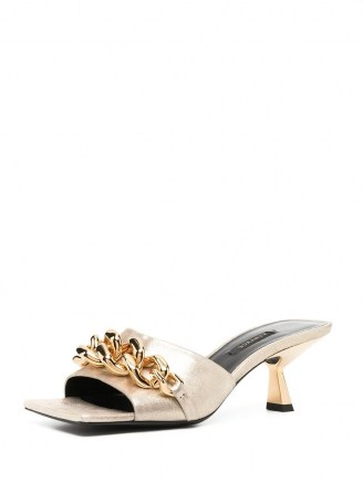 Versace gold-leather chain-embellished mules - flipped