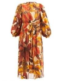 JOHANNA ORTIZ Vida Mia floral-print crepe dress / orange printed dresses / bold prints