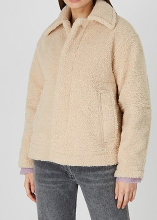 VINCE Sand faux shearling jacket | neutral textured winter jackets - flipped