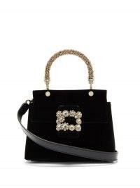 ROGER VIVIER Black Viv' crystal-embellished velvet bag – small boxy top handle bags – luxe handbags