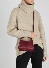 WANDLER Ava micro burgundy leather top handle bag – small dark-red crossbody bags