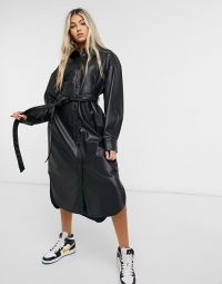 Weekday Gigi shirt dress in black – faux leather curved hem dresses – self tie waist
