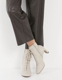 Whistles Dahlia lace up leather boots in stone ~ side zip booties