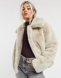 Whistles faux fur cropped coat in ivory – neutral winter coats