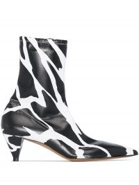 Alexandre Vauthier Veruschka 45mm giraffe print ankle booties in black and white ~ monochrome point toe boots