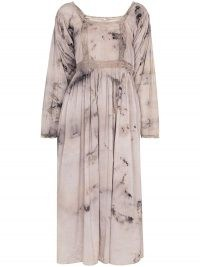 MIMI PROBER tie-dye print lace detail dress / square neck dresses