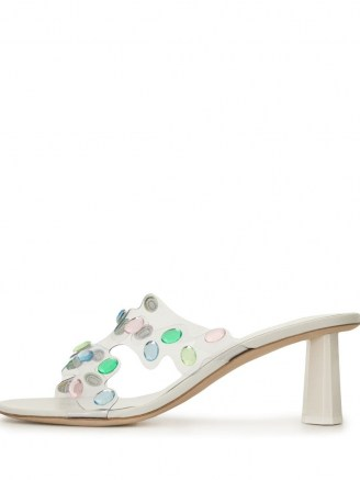 BY FAR crystal-embellished mule sandals / cut out mules - flipped