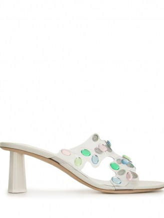 BY FAR crystal-embellished mule sandals / cut out mules