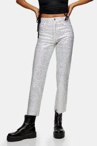 Topshop White Diamante Straight Jeans | embellished denim