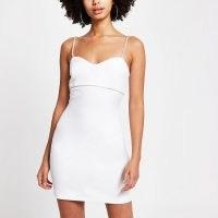 RIVER ISLAND White diamante trim mini bodycon dress ~ strappy LWD ~ skinny strap evening dresses ~ party fashion
