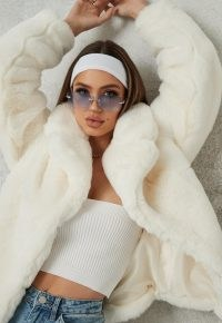 MISSGUIDED white faux fur short collar coat ~ fluffy winter coats ~ glamour