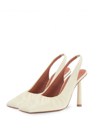 FENTY Don't Be Square 105mm slingback shoes in coco-white / gathered detail slingbacks - flipped
