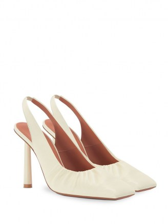 FENTY Don't Be Square 105mm slingback shoes in coco-white / gathered detail slingbacks