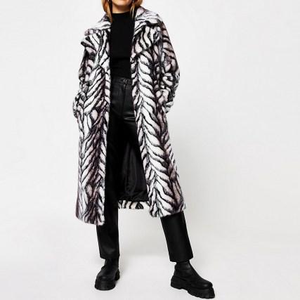 River Island White Long Line Faux Fur, White Long Line Faux Fur Zebra Print Coat