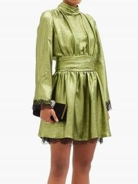 DUNDAS Wide-sleeve lace-trimmed silk-blend lamé dress in green ~ shimmering event dresses ~ evening glamour