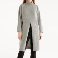 PAISIE Willow Knitted Split Dress In Grey | high neck tunic dresses | knitwear