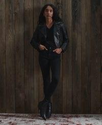 SUPERDRY ORIGINAL & VINTAGE Backstage Leather Biker Jacket – black studded jackets