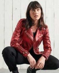 SUPERDRY ORIGINAL & VINTAGE Red Metallic Leather Biker Jacket