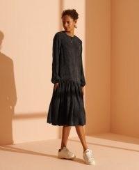 SUPERDRY STUDIOS Mia Midi Dress Washed Black ~ dropped hem dresses ~ frill hemlines