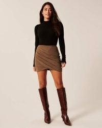 Ruched Vegan Suede Mini Skirt – such a cool look